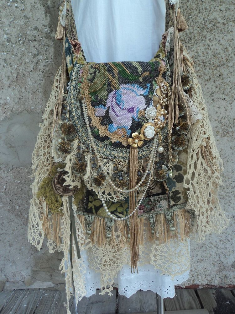 Large Handmade Boho Vintage Lace Cross Body Bag Artisan