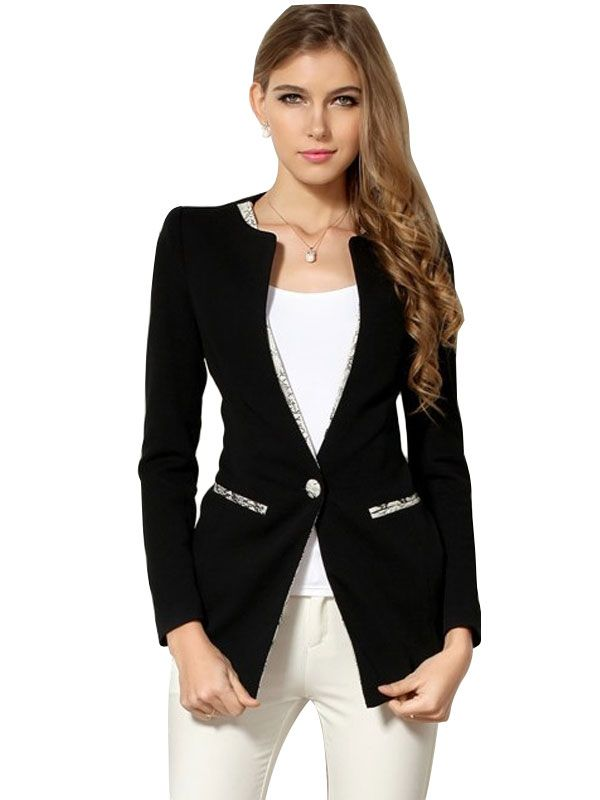 New Style Elegant Patchwork Single Button Coat