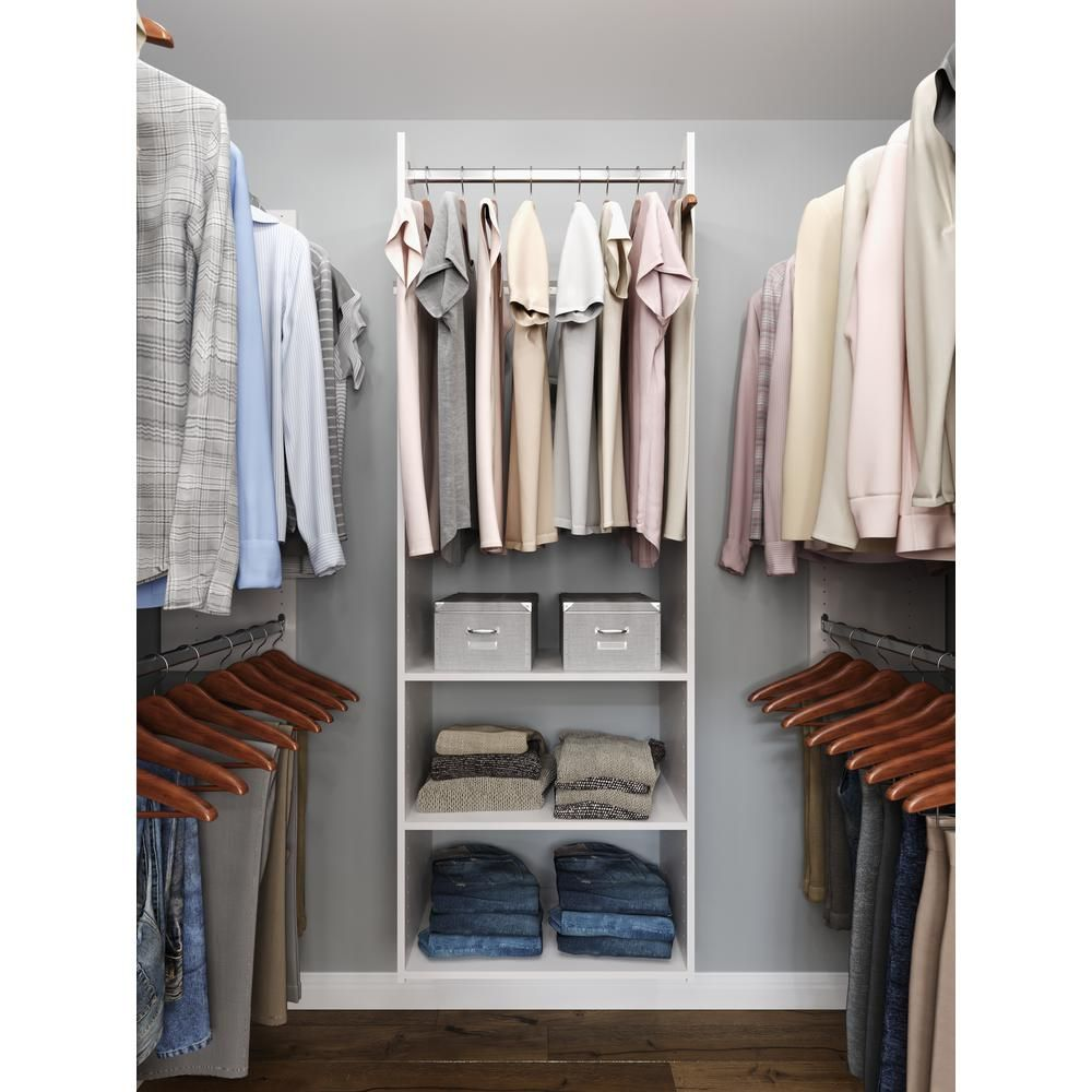 Closet Evolution Hanging Starter 25 In W White Wood Closet Tower