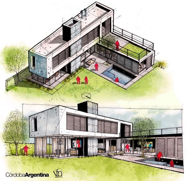 Cheap Apartment Buildings: Architectural Flow: Surrealist Home Illustrations By Neyra