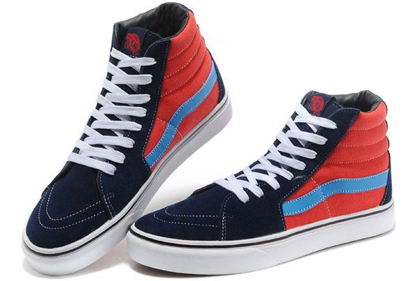 Vans Off the Wall Classic Sk8 Hi Tops Blue Red Old Skool Suede Skateboard  Winter Boots  Y13101803  -  39.99   Vans Shop 1e81c4755