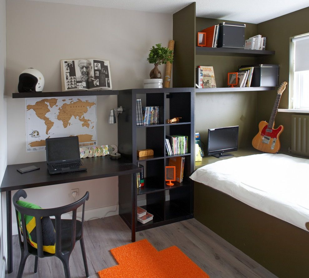 Kids Room Desk: Wall Desk Units Kids Contemporary With Built In Desk
