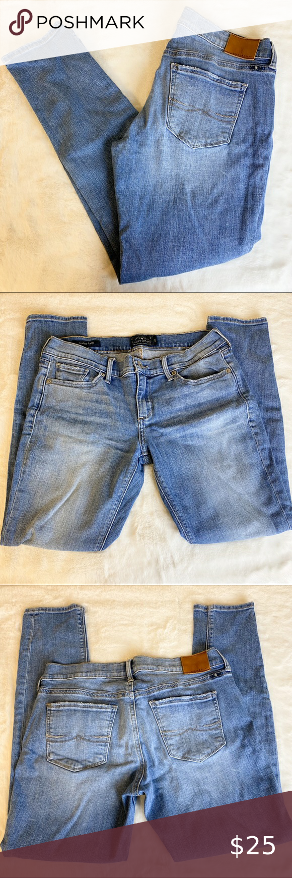 """Lucky Brand Charlie Skinny Jeans Size 6 / 28 Lucky Brand Charlie Skinny Jeans Size 6 / 28  Measurements are approximate Waist 30"""" Inseam 26"""" Rise 8""""  #0125 Lucky Brand Jeans Skinny"""