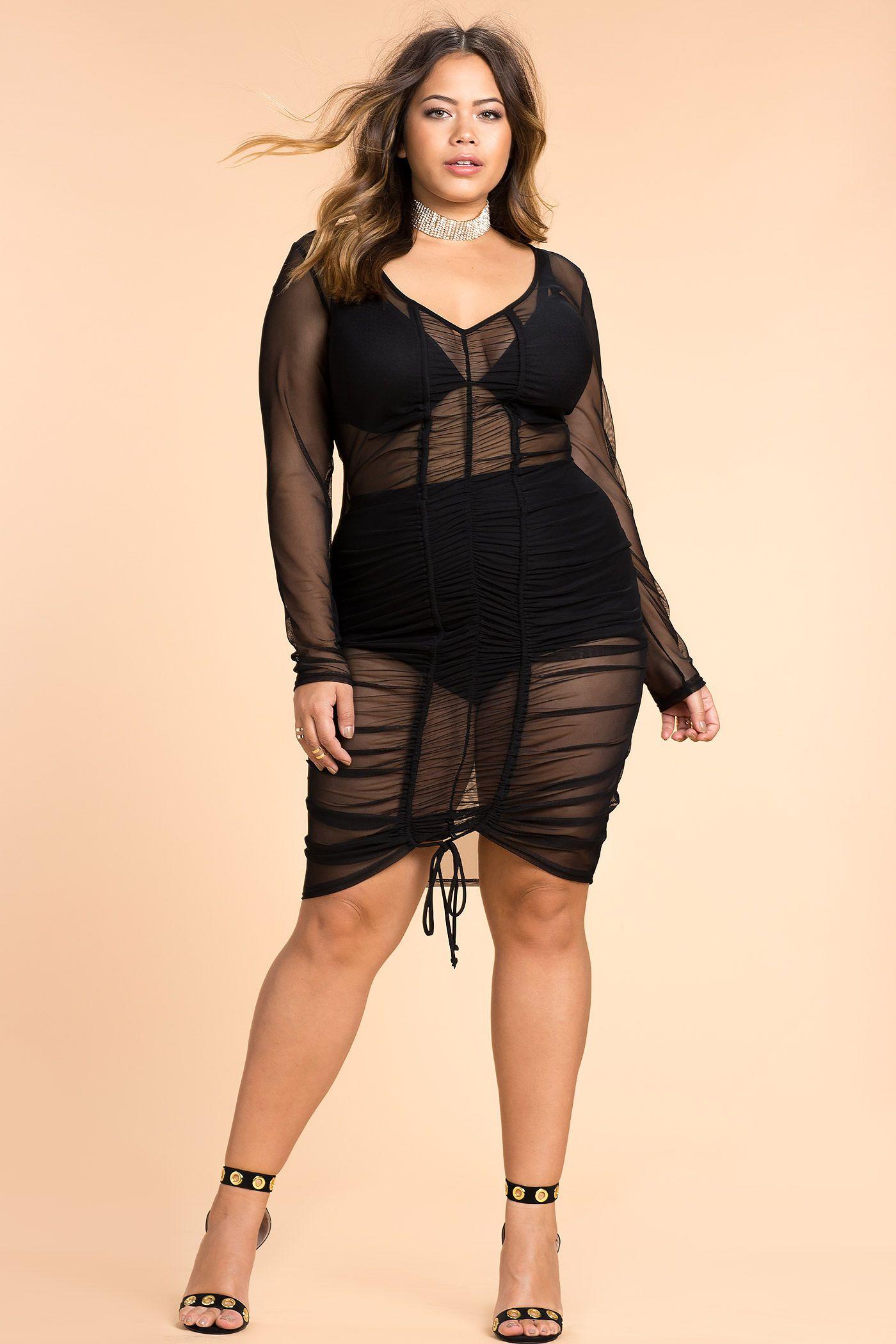 Women\'s Plus Size Bodycon Dresses | Kim K All Sheer Bodycon Dress ...