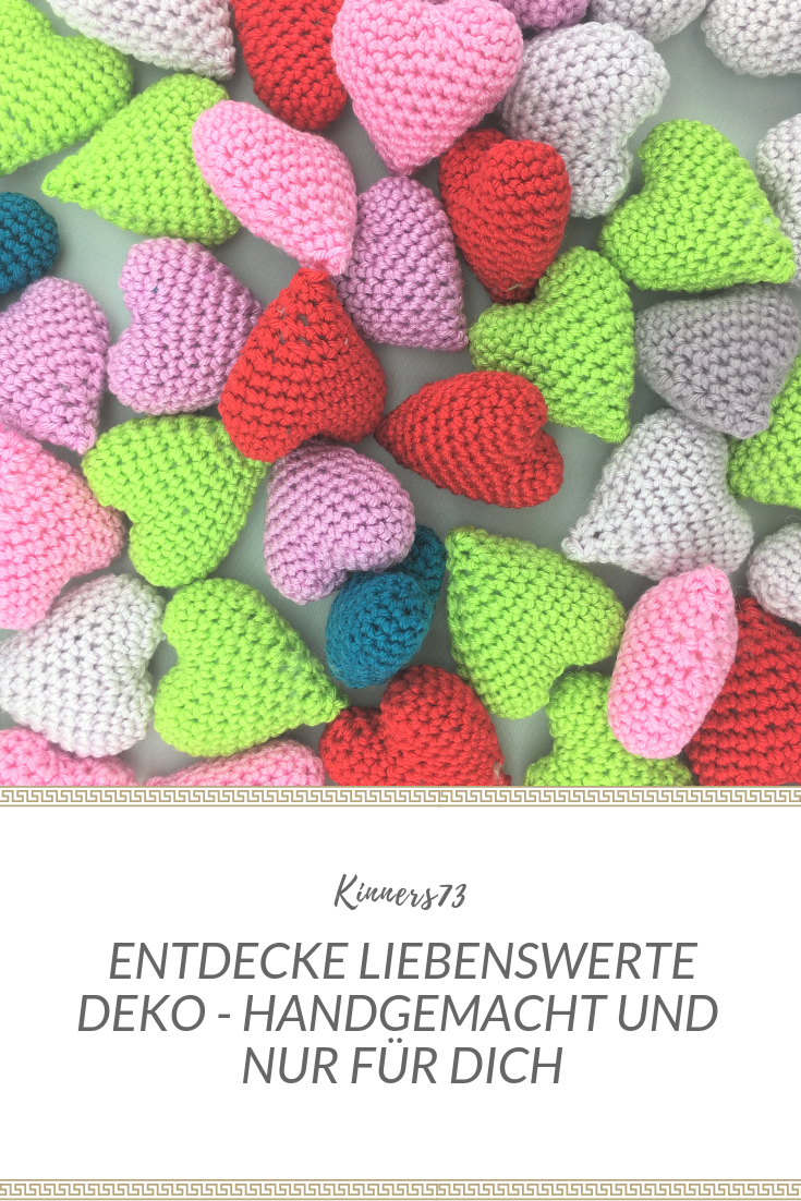 Dekoherz Haustür Crochet Heart Handmade Crocheted Heart Wool 3d Optics Filled