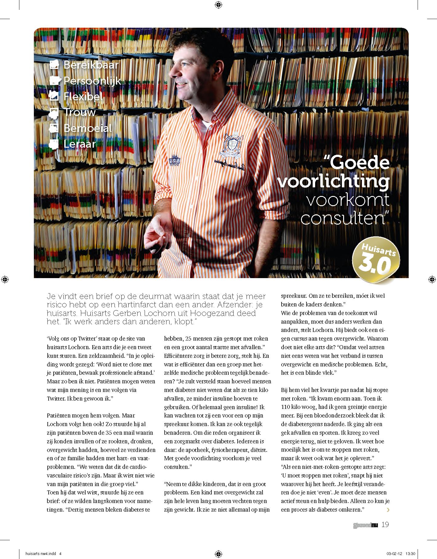 Huisarts Gerben Lochorn in het blad GezondNu over huisarts 3.0 ...