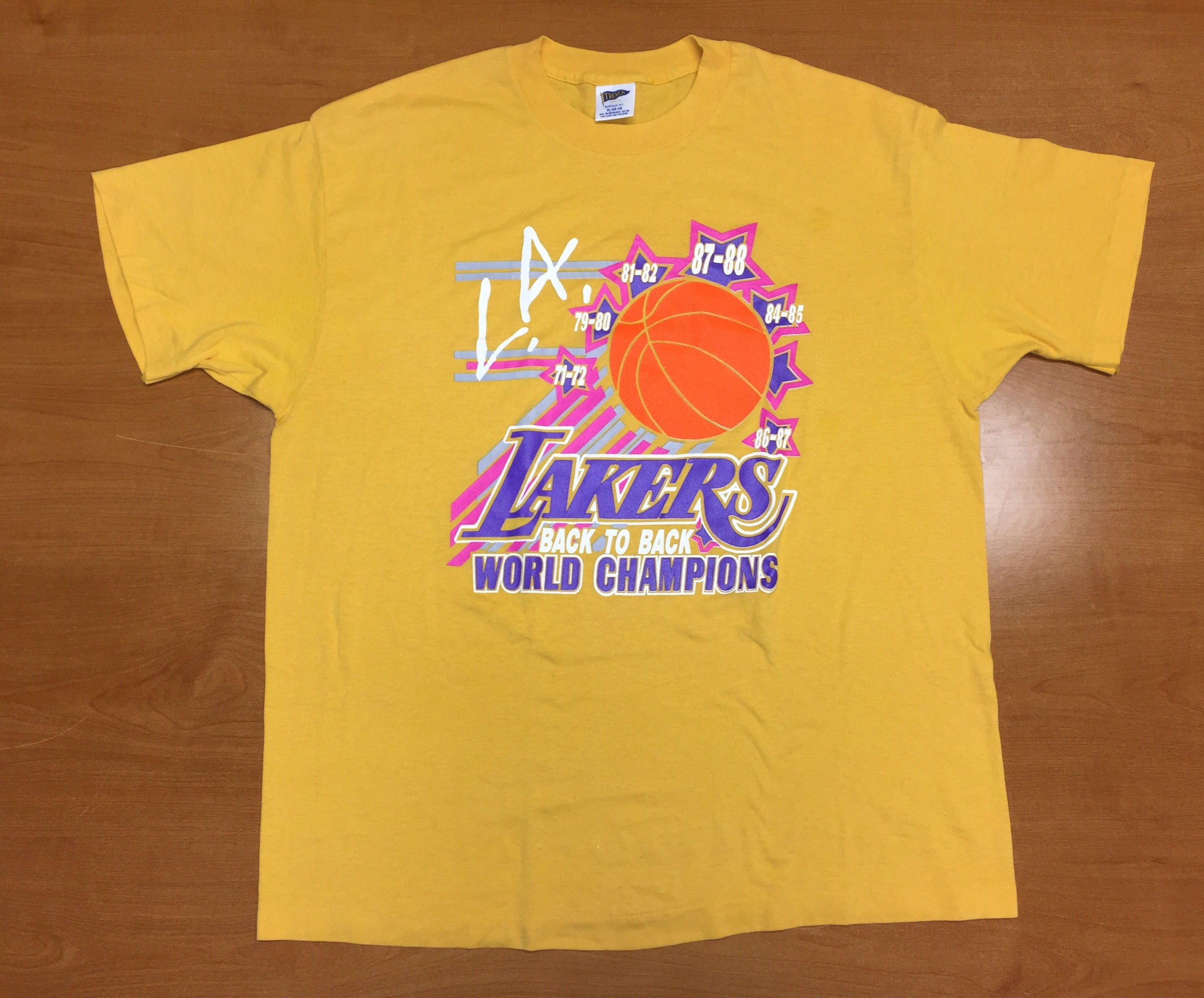 Vintage 1988 Los Angeles La Lakers T Shirt Tee Jersey Hat Magic Johnson Shaquille O Neal Kobe Bryant Nba Finals Champ La Lakers Lakers T Shirt Shaquille O Neal