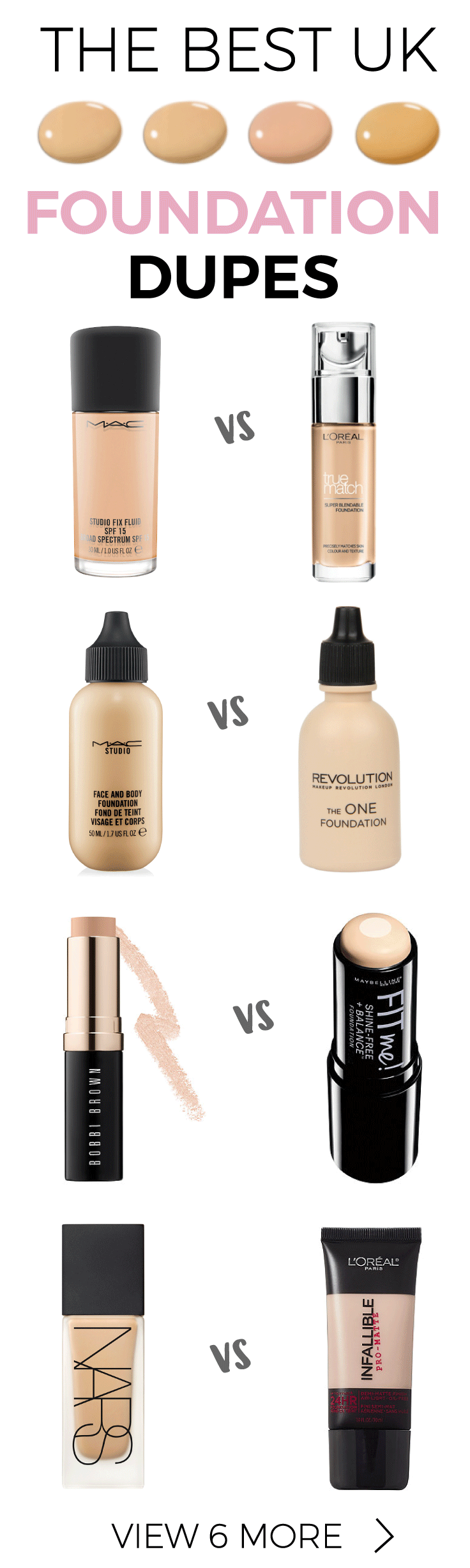 Ten Of The Best High Street Foundation Dupes UK Makeup