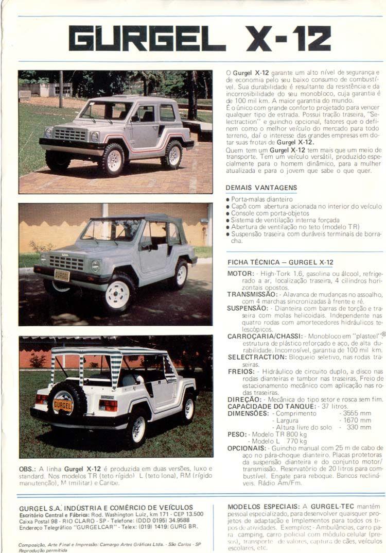 1986 Gurgel Line Up S America Http Www Tocmp Com Brochures