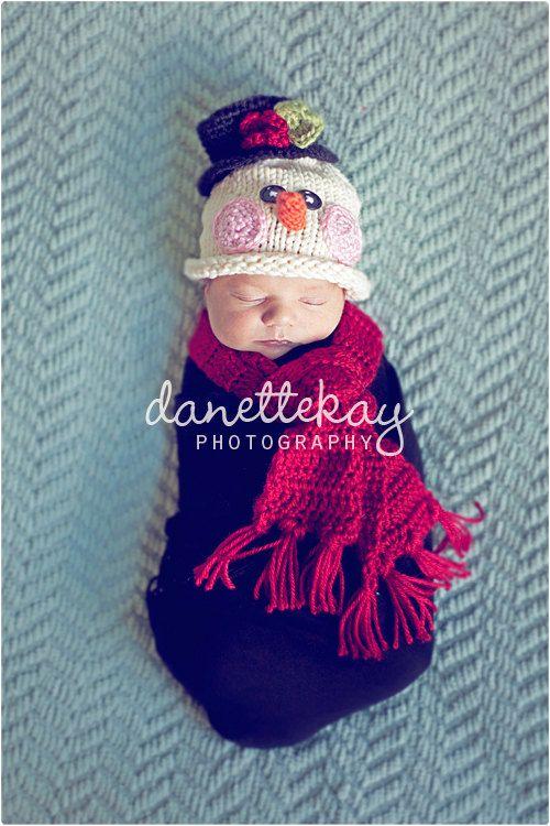Newborn Frosty Snowman hat and scarf set