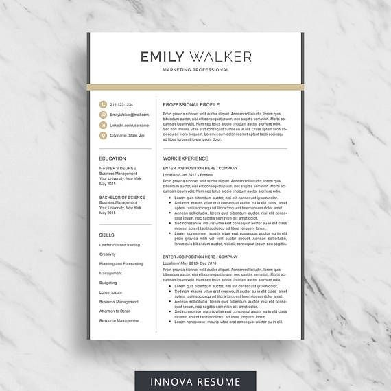 Modern Resume Template For Word With Matching Cover Letter And