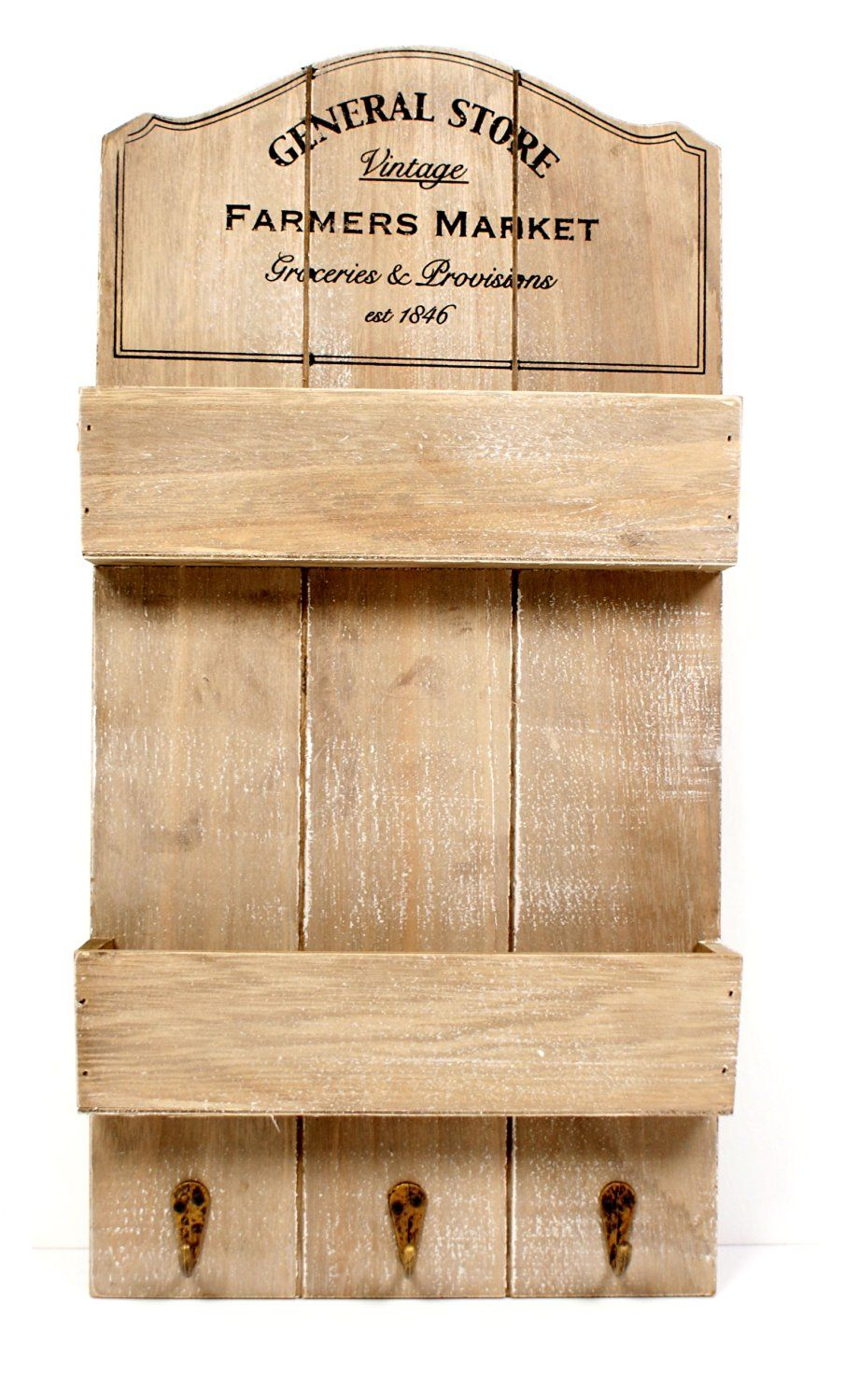 New Shabby Chic Rustic Vintage General Store Shelf Wall Unit ...