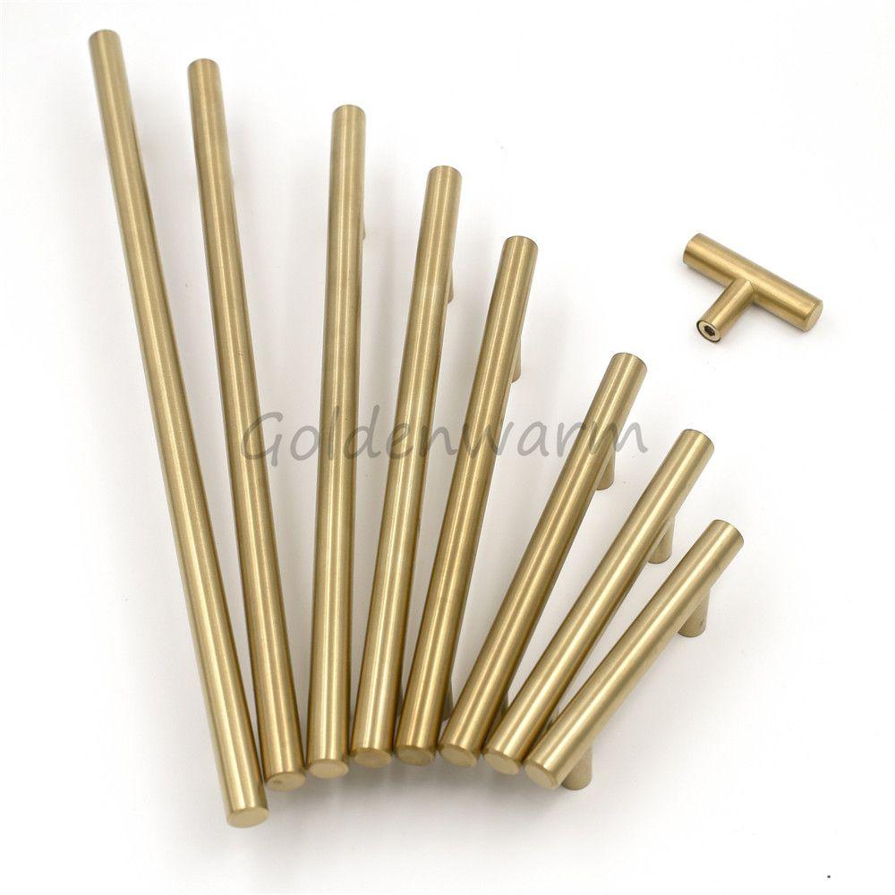 1 Piece Brushed Brass Golden Cabinet Handles Hole Center 2\'\'~10 ...