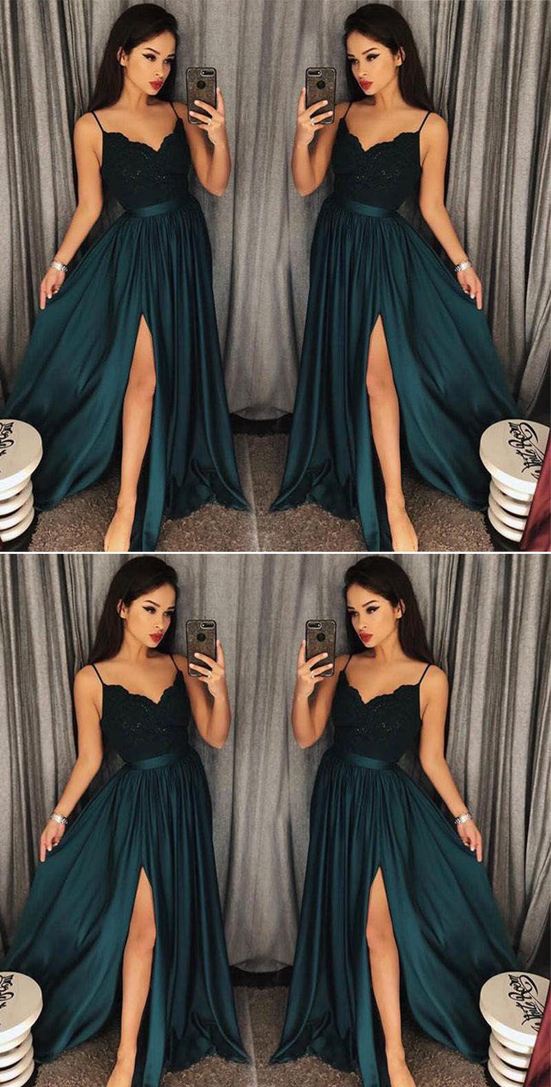 Teal Sexy Slit Prom Dresses 2020 Spaghetti Straps Girls Long Party Gown vestidos de graduacion LP7704