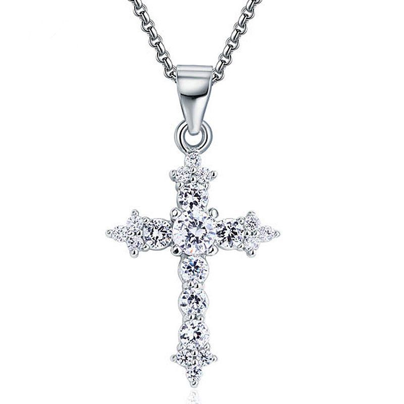 925 Sterling Silver Womens Round Cubic Zirconia Cross Religious Fashion Charm Pendant