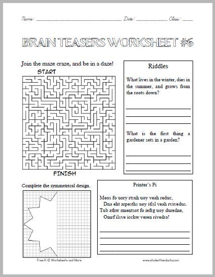 Brain Teasers Worksheet 6 Brain Teasers For Kids Word Brain Teasers Brain Teasers Math brain teasers worksheets pdf