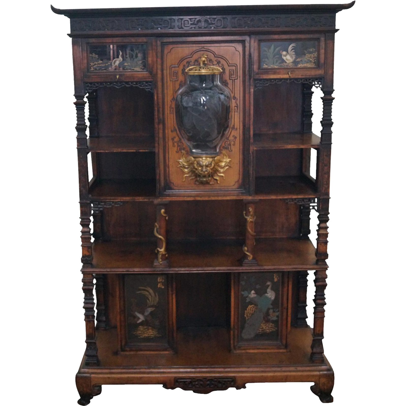 Antique Chinese Bronze Dragon Mounted Etagere Cabinet W French Etched From Bucks County Estate Traders On Ruby Lane