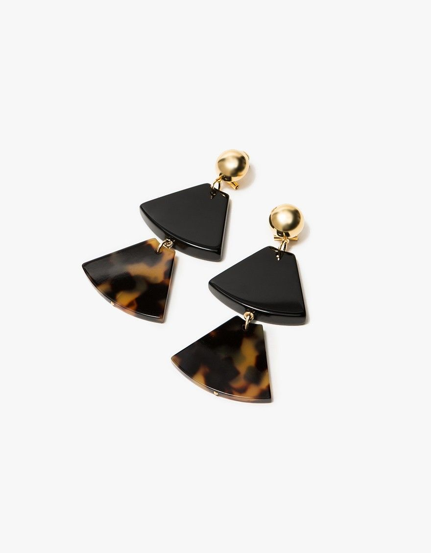 Two-tiered tortoise shell drop earrings