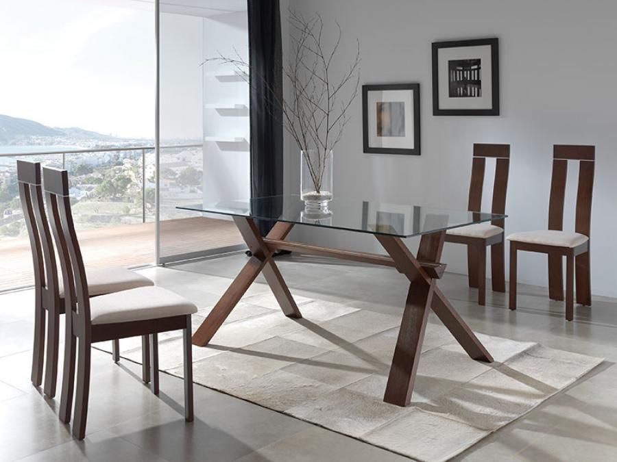 Contemporary Glass And Beech Selena Dining Table White Or Burnt