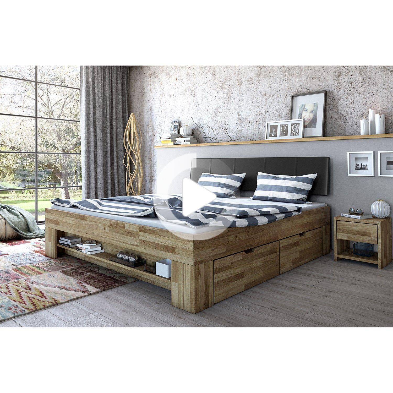 Ars Natura Massivholzbett Castlecoote 140x200 Cm Eiche Massiv Kunstleder Mit Bettkaesten In 2020 Furniture Rustic Bedroom Furniture Bed