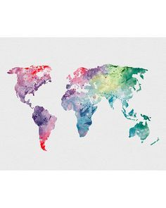 World Map 1 Watercolor Art Print