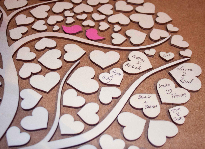 wedding tree 3D Wedding Guest Book Alternative Wedding Tree Wood Guest Book Rustic Wedding Guestbook Wedding Gift Tree Of Hearts Leaves