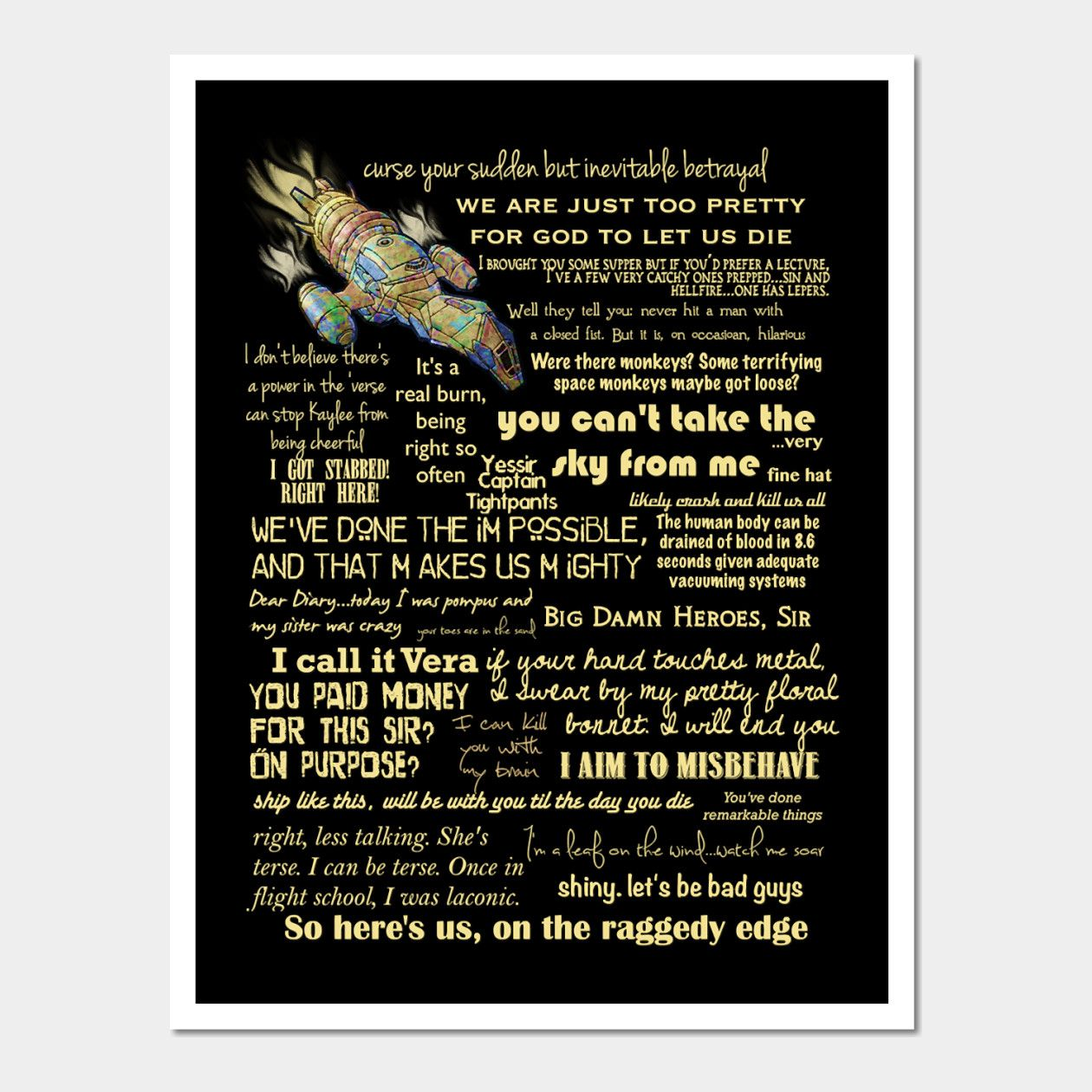Firefly Quotes Slim Fit T Shirt Wall And Art Print In 2020
