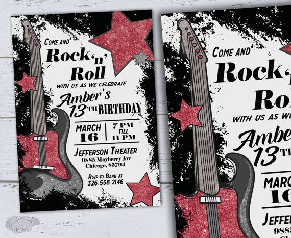18th Birthday Invitations Printable Sweet 16 13th Birthday Party – Rock and Roll Party Invitations