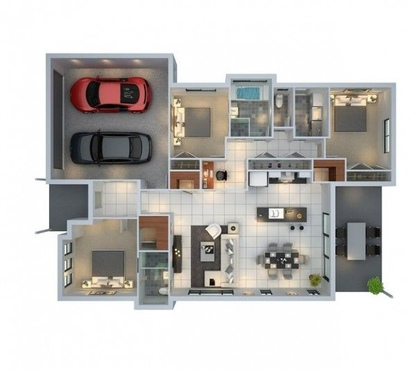 3 bedroom with parking space floor plan decoraciones for Small space floor plans
