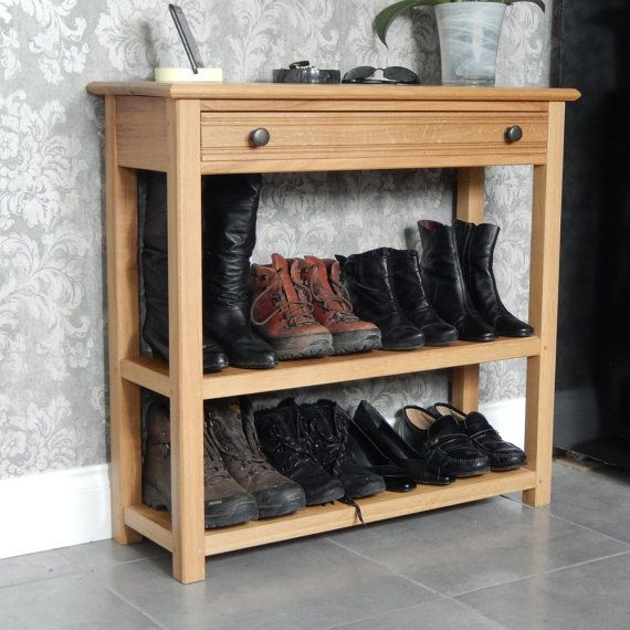 Console Table Oak Console Table With Drawer And 2 Shelves