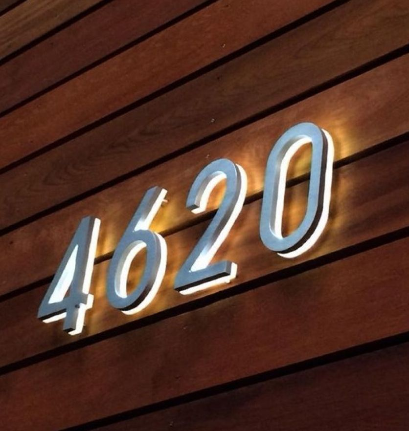 Luxello modern bronze house number 5 the dark bronze led illuminated house numbers are available in a 5 and 8 inch size