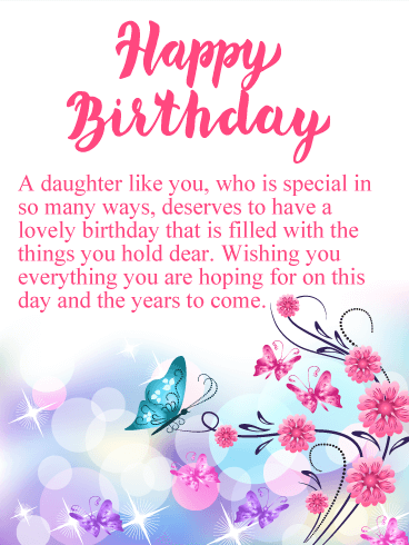 Sparkling Butterflies Happy Birthday Card For Daughter