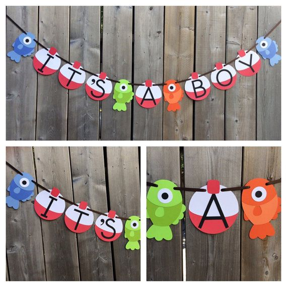 It S A Boy Gone Fishing Theme Banner Fish Baby Shower Banner