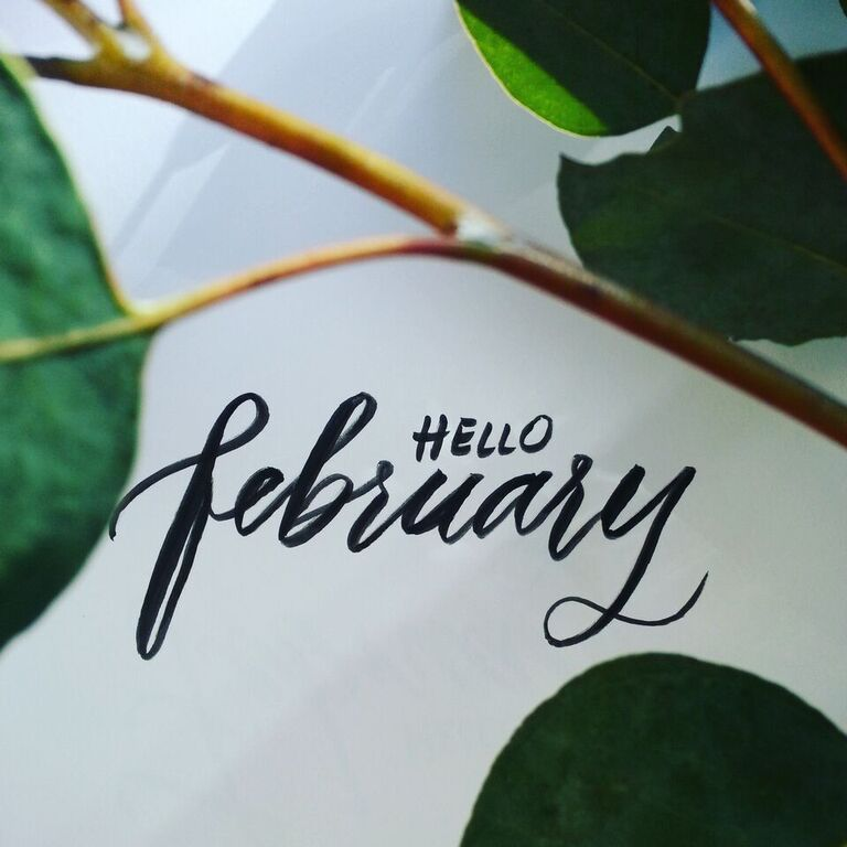 Hello February brush pen calligraphy   Florals and