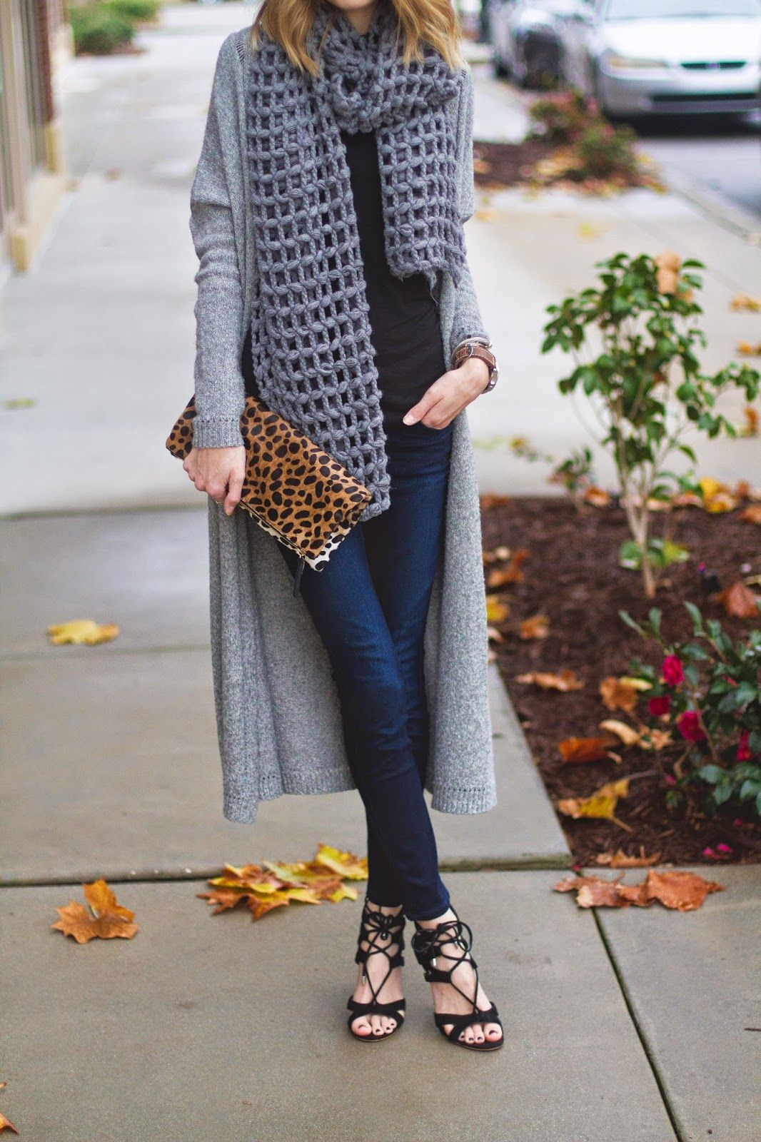 Black & Grey Casual. Open knit chunky scarf, maxi cardigan, skinny ...