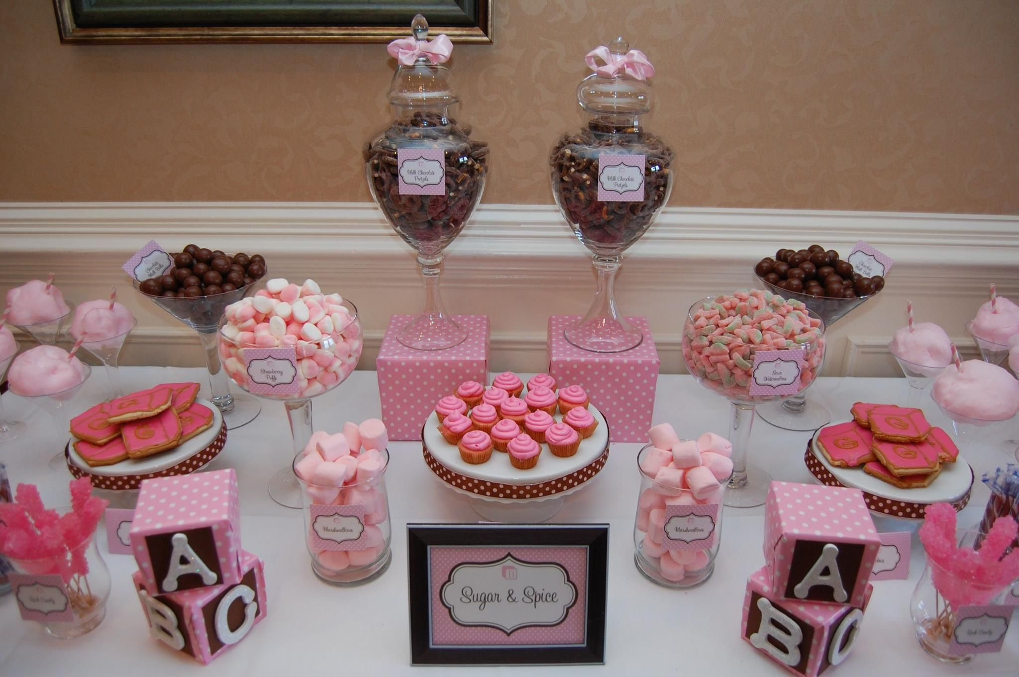 Nice Pink Baby Shower Dessert Buffet | Sugar And Spice Baby Shower   Candy  Buffet Blog