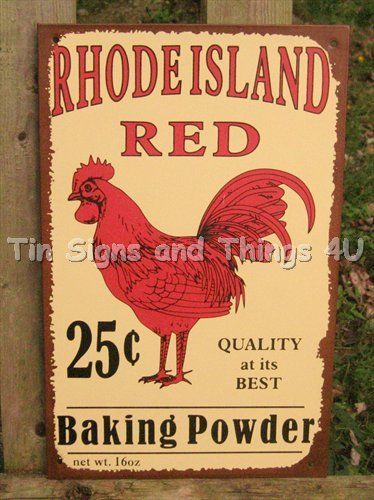 Rhode Island Red Rooster TIN SIGN vtg metal wall decor kitchen ...