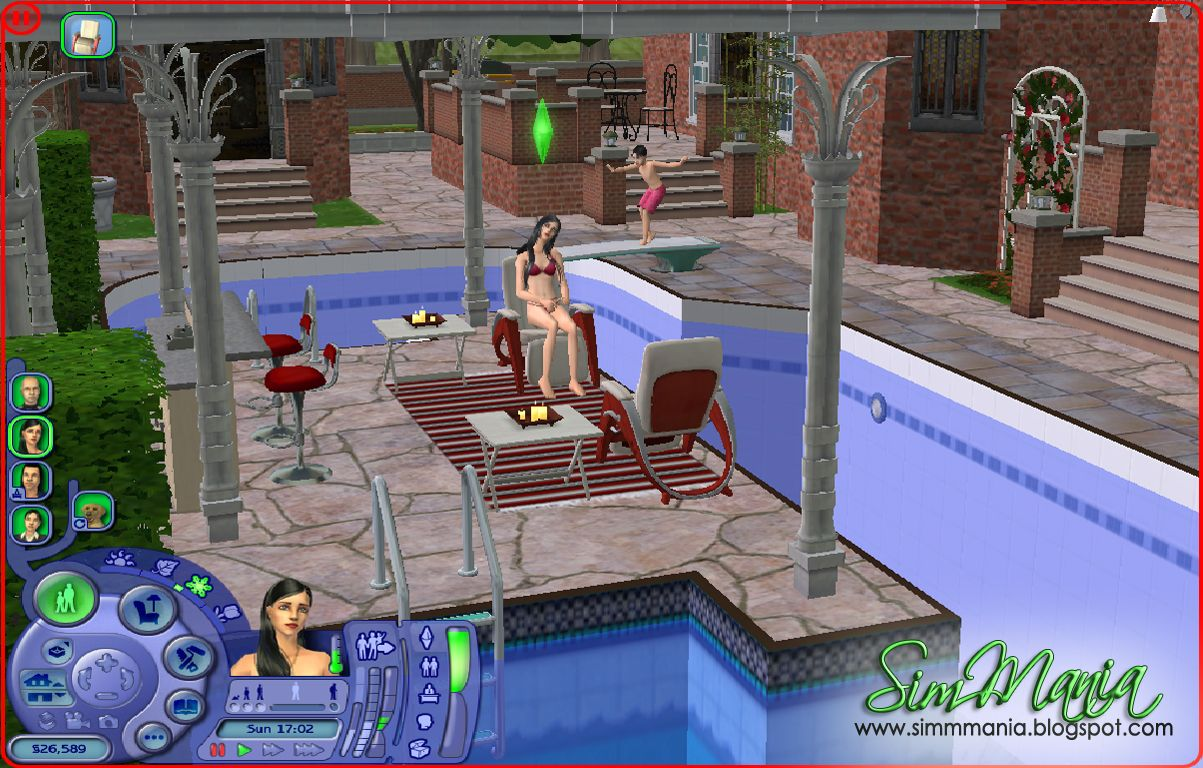 A castle in the sims 2 the backyard swimming pool the for Pool design sims 3