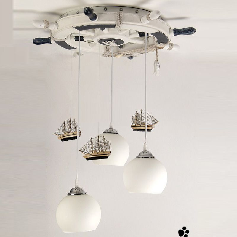 Mediterranean Creative Retro Rudder Boat 3 Lights Children's Room Pendent Lights Children's Bedroom Lamp -4