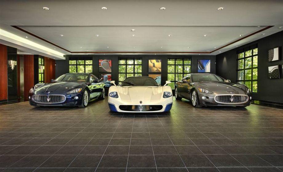 Maserati Garage design interior, Luxury car garage