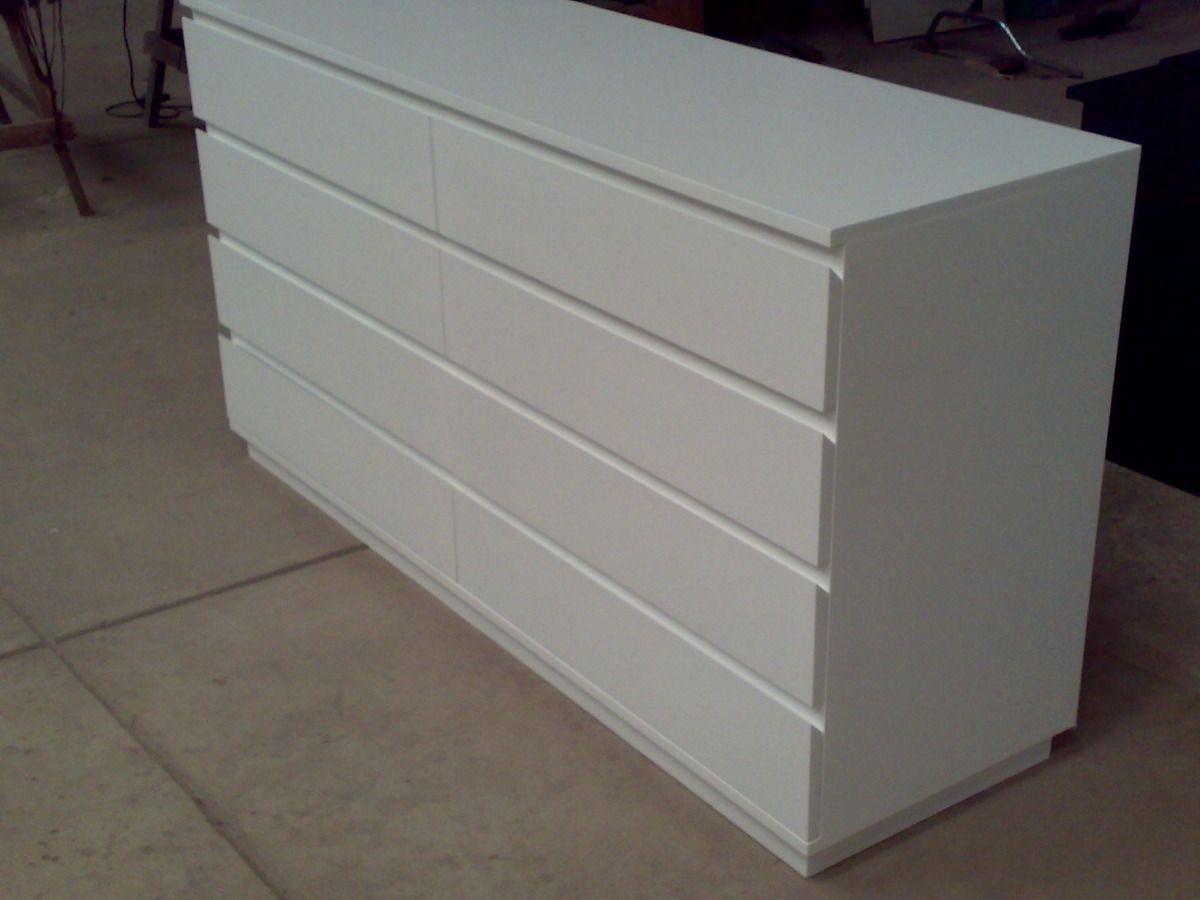 Cajonera Cómoda 8 Cajones 140x45x80cm Blanca Laqueada