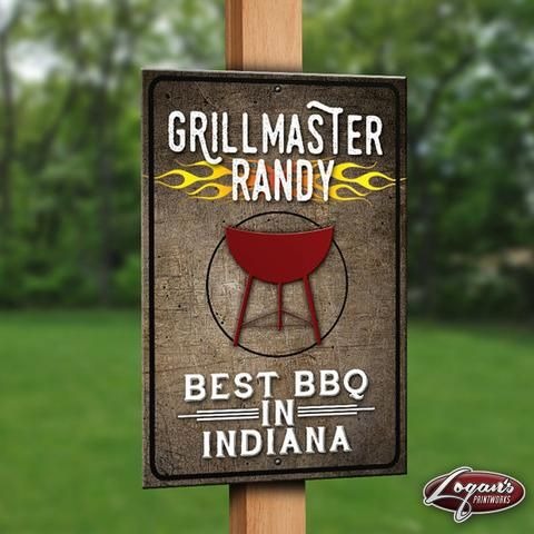 "Customized Grillmaster Metal Sign | 12""x18"" Personalized Grilling Decor 