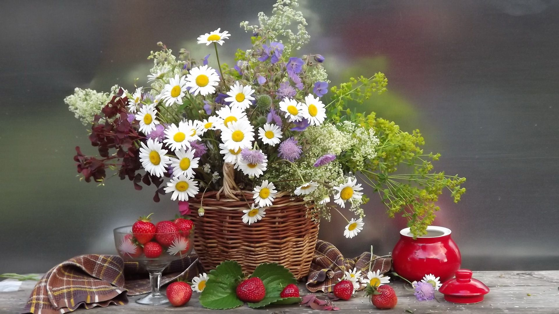 Daisies Flowers Flower Bouquet Strawberries Berries Still Life Wallpaper