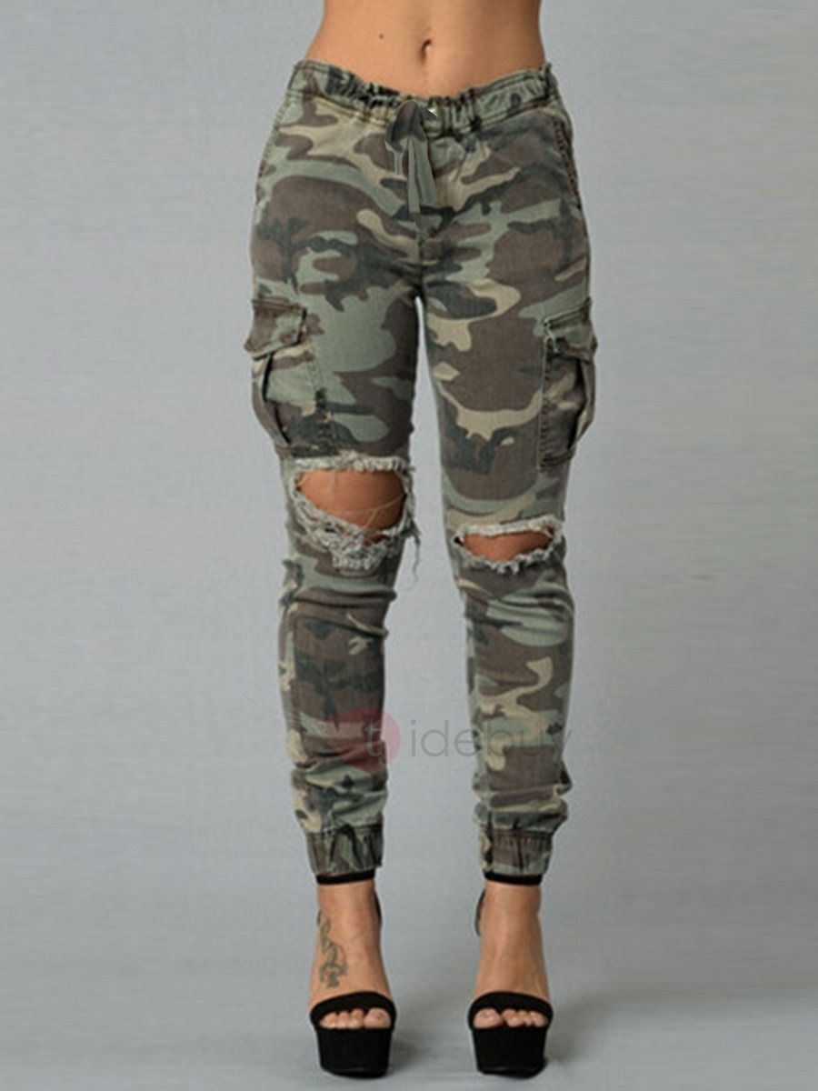 Camouflage Printed Strap Ripped Hole Women S Jeans What