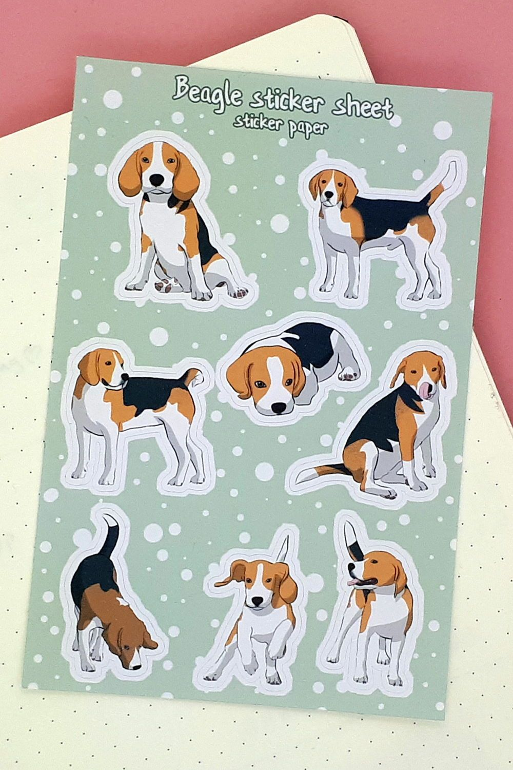 8 charming beagle stickers for your bullet journal planner | Etsy