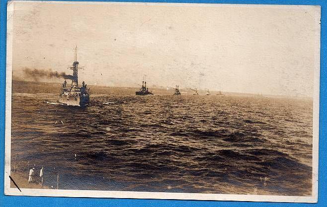 WWI RPPC US Navy Battleships at Sea Real Photo Postcard