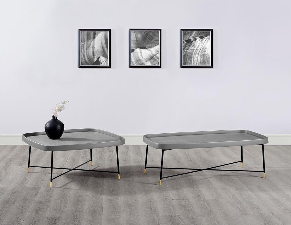 Whiteline Lucia Coffee Table Black Metal Home Coffee Tables