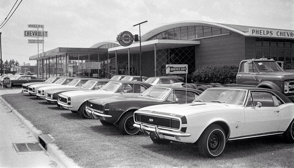 Chevy Dealership row of new '67 Camaros