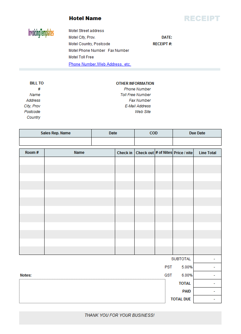 Printed Hotel Receipt Template Recipes To Cook Pinterest - Free invoice receipt template word
