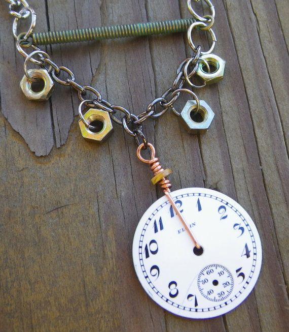 Hands of Time Steampunk Vintage Pocket Watch Face and Bolt by FragmentedTime, $40.00
